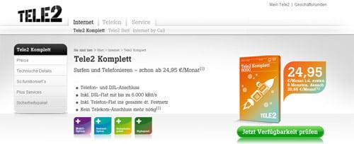 Tele2 Tarife und neue Homepage