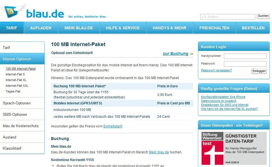 blau prepaid internet