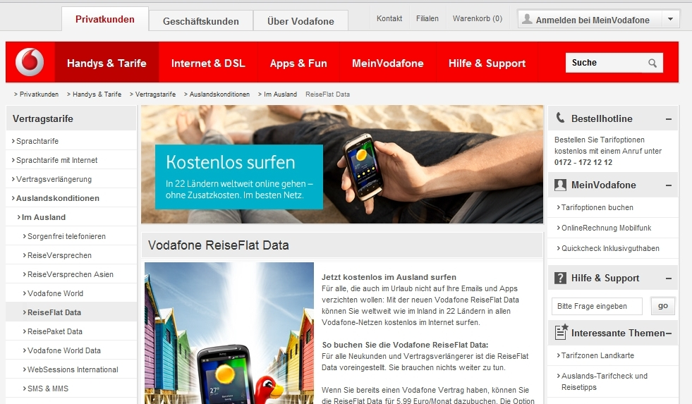 Vodafone Screenshot: Vodafone ReiseFlat Data