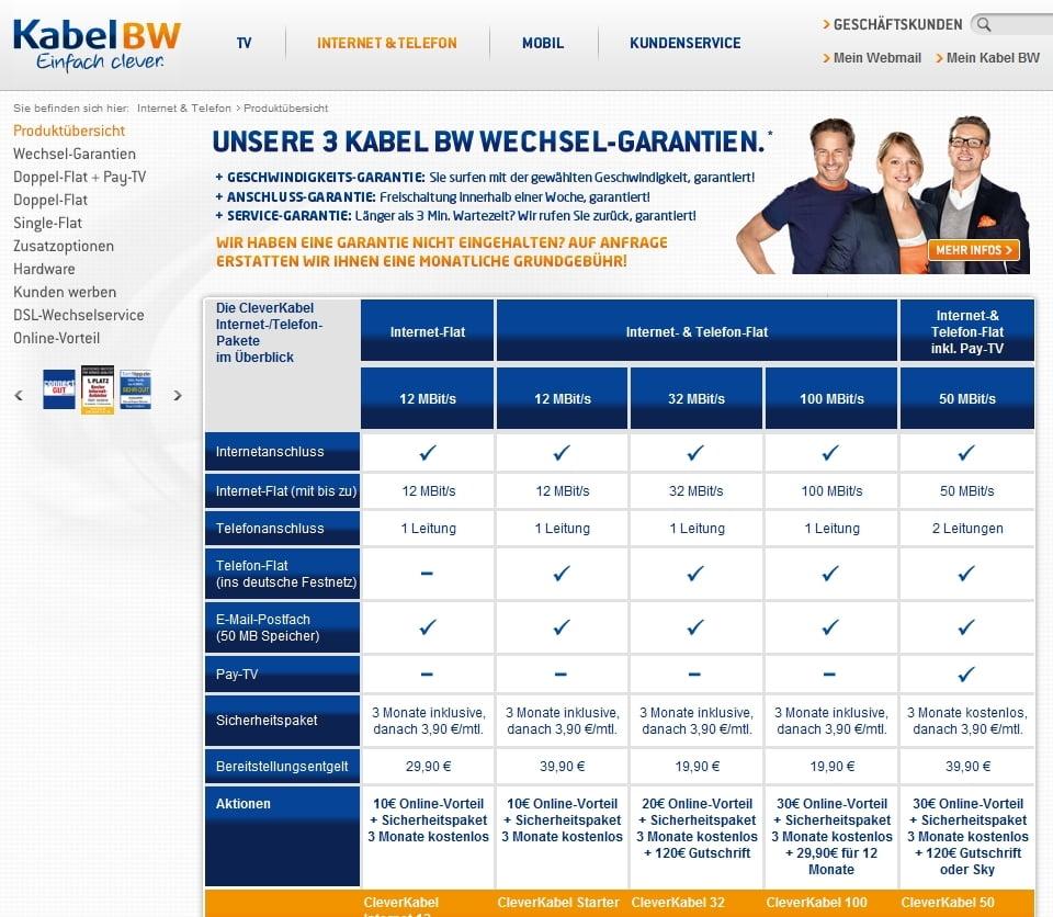 Tarif: Clever Kabel von Kabel BW mit 140 Euro Bonus