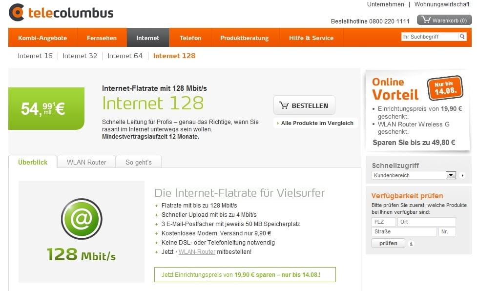 128 Mbit/s Internet von Tele Columbus und günstigere Preise für Internet-Tarife