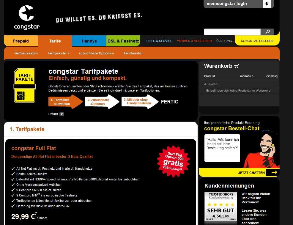 Congstar Full Flat – schnelles Internet und D1-Netzqualität